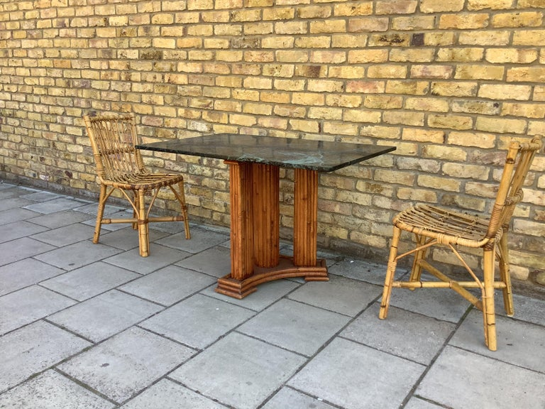 Mid-Century Modern 1930's French Marble & bamboo dinning table For Sale