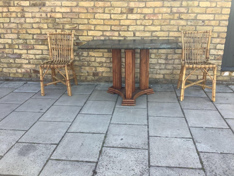 1930's French Marble & bamboo dinning table In Good Condition For Sale In London, Lambeth