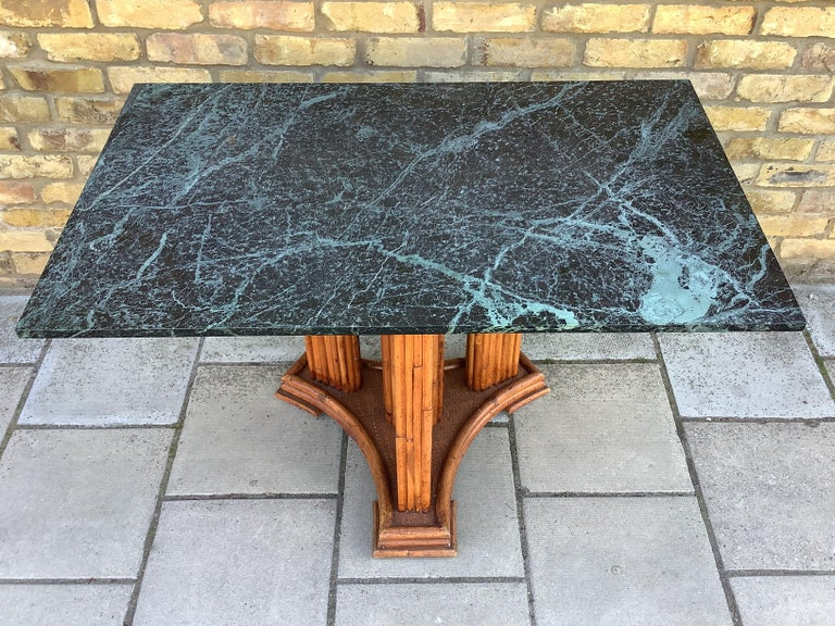 20th Century 1930's French Marble & bamboo dinning table For Sale