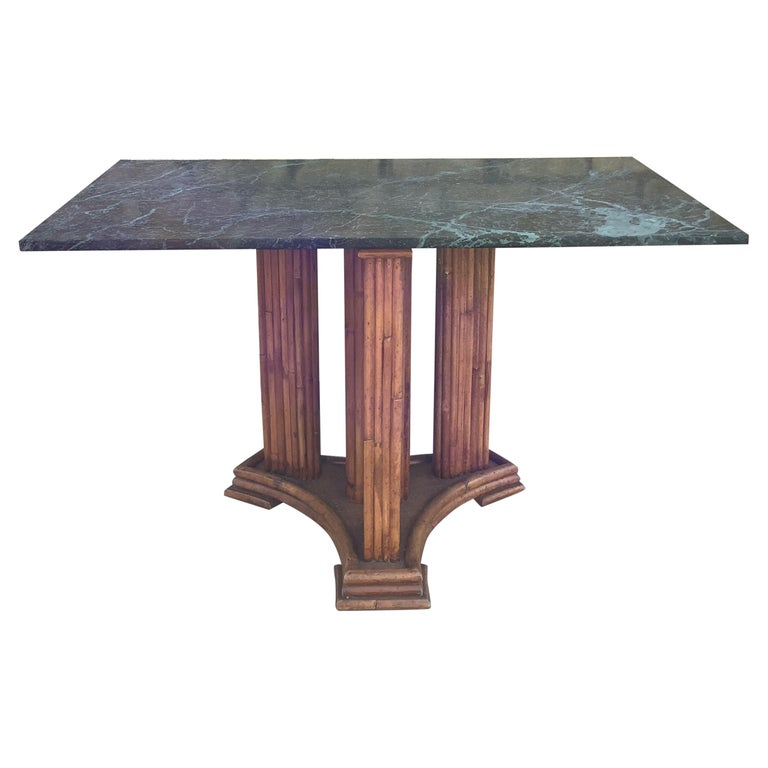 1930's French Marble & bamboo dinning table For Sale