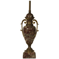 1930s French Marble Table Lamp Brass Accents
