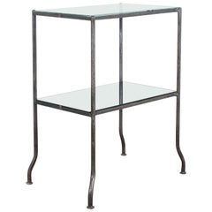1930s French Metal Table with Black Glass Top