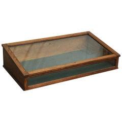 1930s French Oak Vintage Slant Table Top Display Case