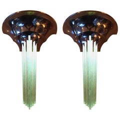 1930s French Pair of Art Deco Sconces by Jean Perzel Gobain Glass and Brass