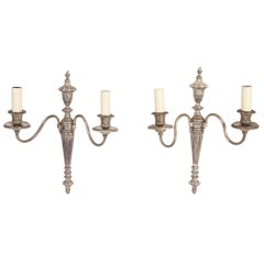 1930s French Pair of Silver Plated Electric Wall Sconces