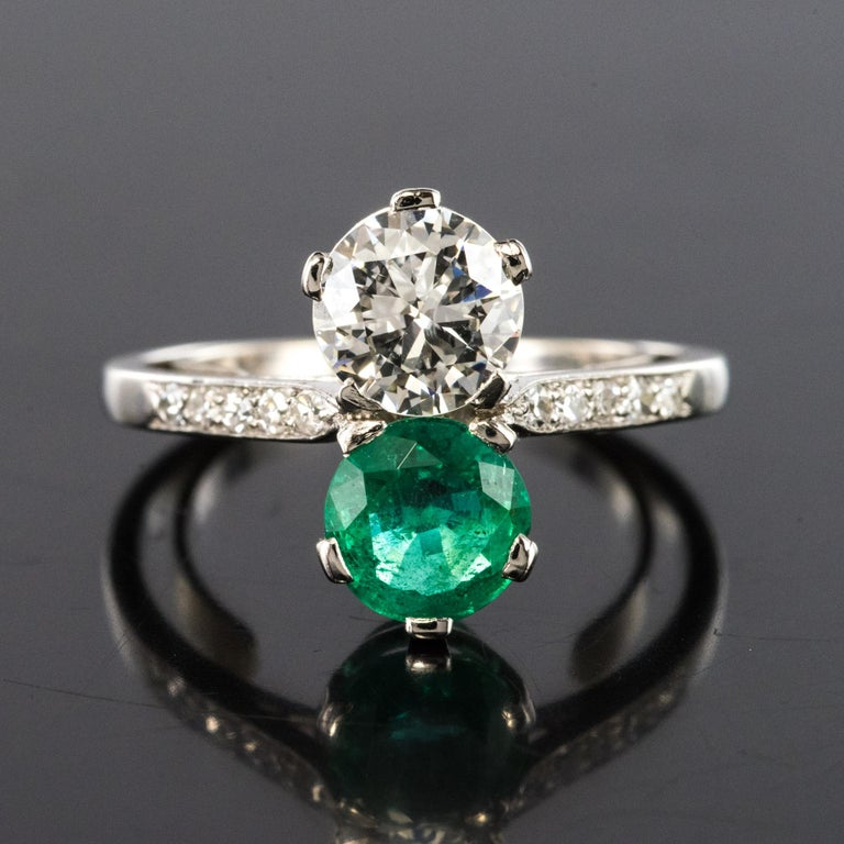 1930s French Platinum Art Deco Emerald Diamond