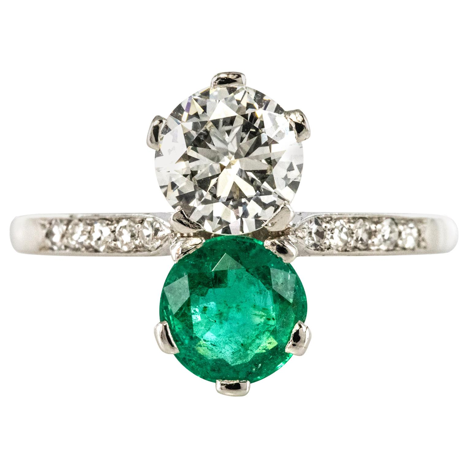 """1930s French Platinum Art Deco Emerald Diamond """"You and Me"""" Ring"""