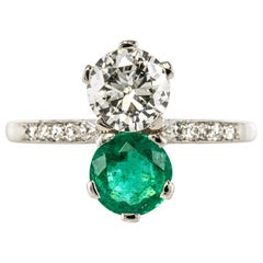 "1930s French Platinum Art Deco Emerald Diamond ""You and Me"" Ring"