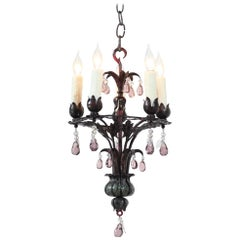1930s French Provincial Tole Painted Iron and Crystal Chandelier