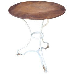 1930s French Rustic Metal Garden Table with White Base