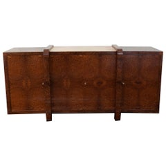 1930s French Sideboard in Tuia Burl Wood, Parchment Top, Brass Details