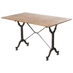 1930s French Stone Top Café Bistro Cast Iron Table