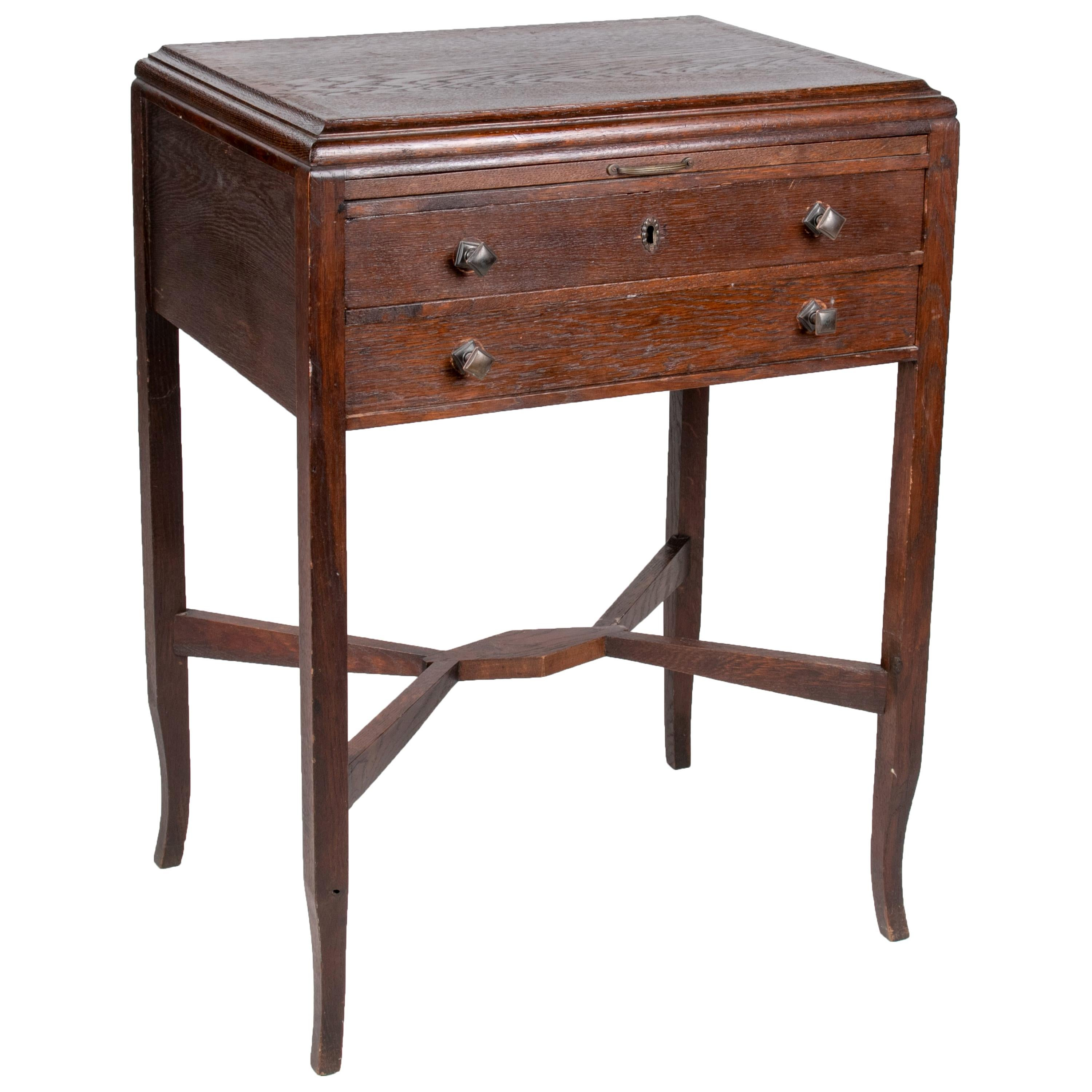 1930s French Two-Drawer Auxiliary Table