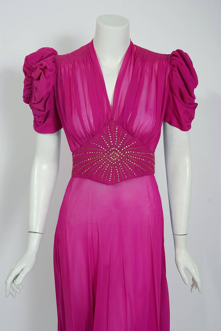 1930s fuchsia pink rhinestone studded silk chiffon puff sleeve a gorgeous original design fuchsia pink silk chiffon gown from old hollywood era ombrellifo Images