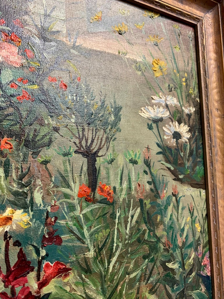 1930's Garden Painting by Richard Kollorsz For Sale 6