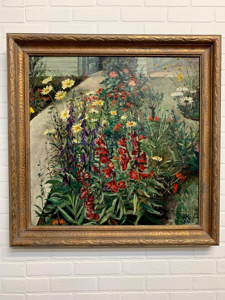 North American 1930's Garden Painting by Richard Kollorsz For Sale