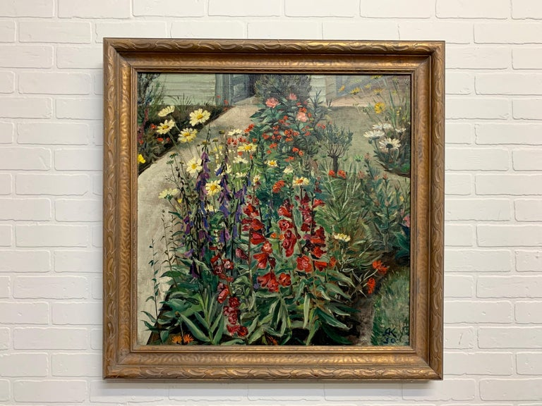 Canvas 1930's Garden Painting by Richard Kollorsz For Sale