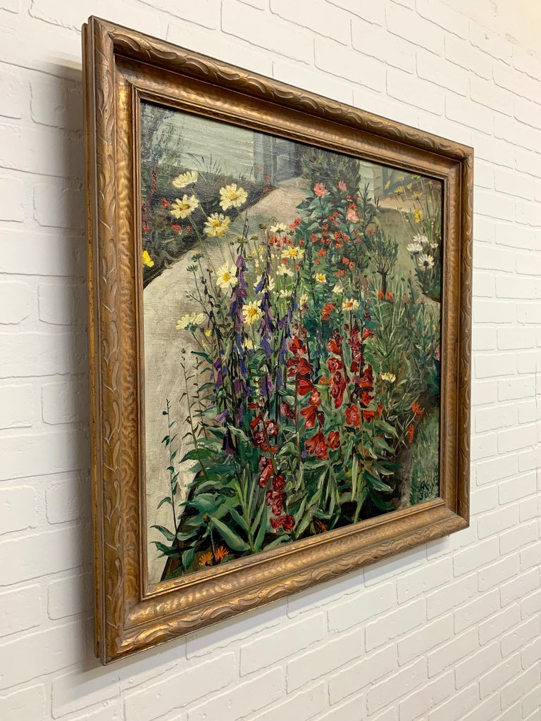 1930's Garden Painting by Richard Kollorsz For Sale 1
