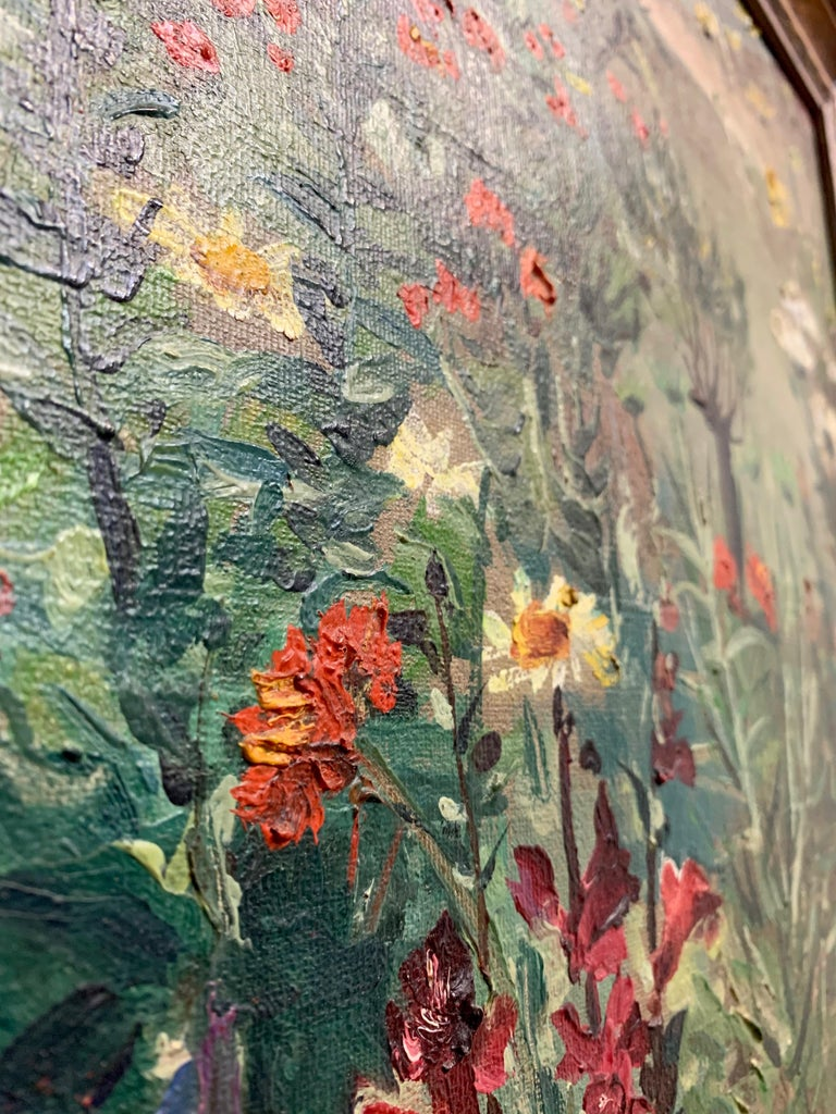 1930's Garden Painting by Richard Kollorsz For Sale 2