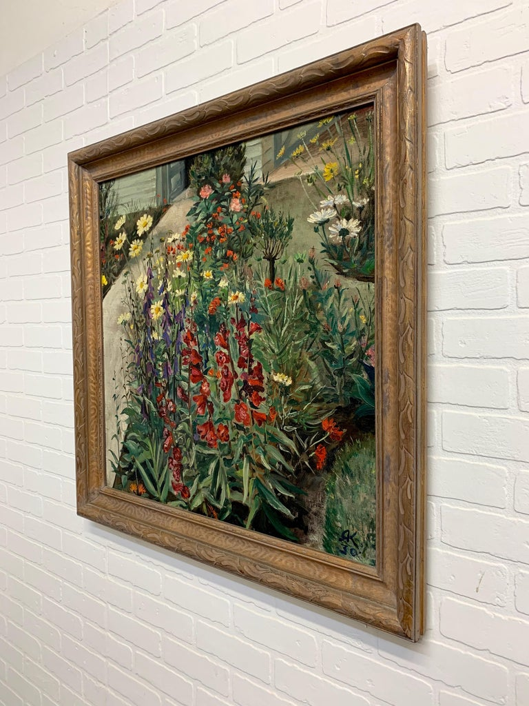 1930's Garden Painting by Richard Kollorsz For Sale 3