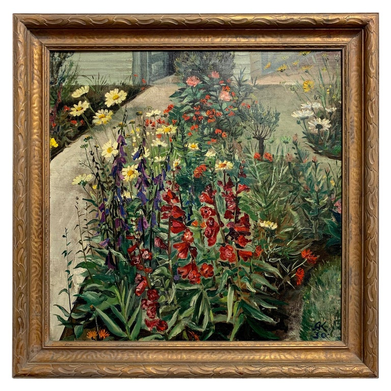 1930's Garden Painting by Richard Kollorsz For Sale