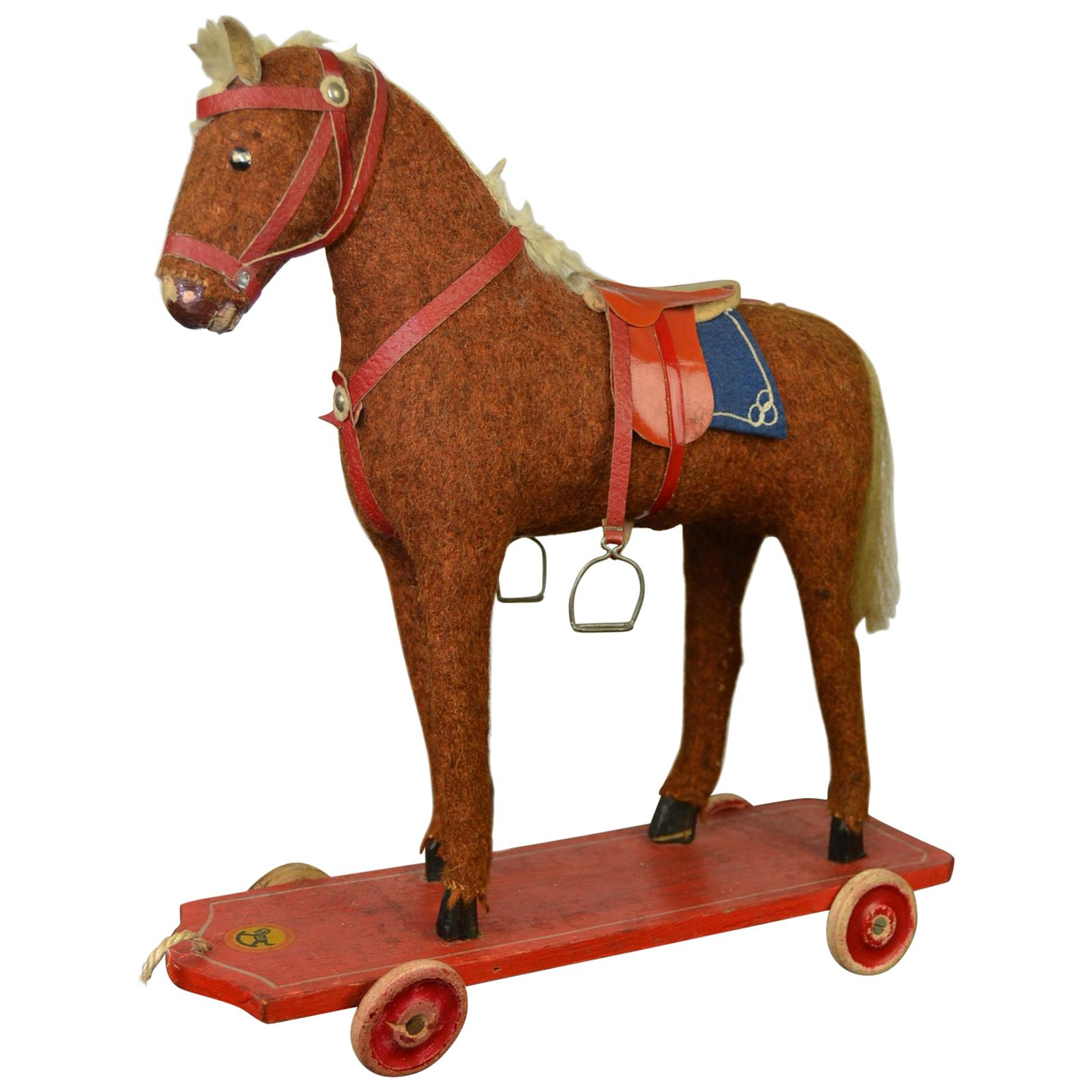 1930s German Pull Toy Horse , Burlap Over Wood