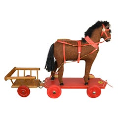 1930s German Pull Toy Horse with Cart, Burlap over Wood