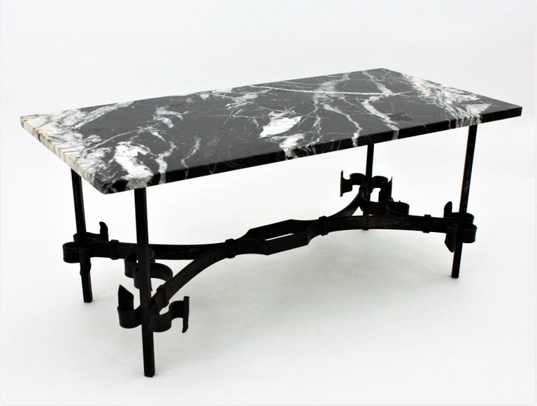 1930s Gilbert Poillerat Style Wrought Iron Coffee Table with Black Marble Top For Sale 7