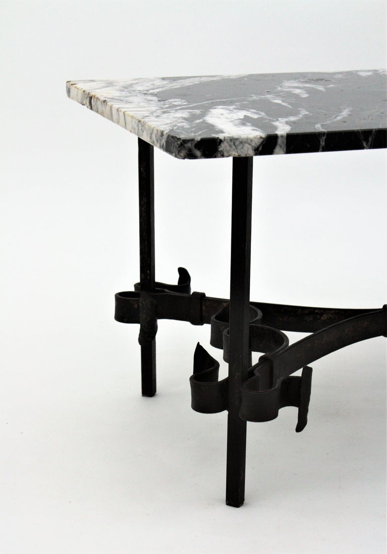 1930s Gilbert Poillerat Style Wrought Iron Coffee Table with Black Marble Top For Sale 8