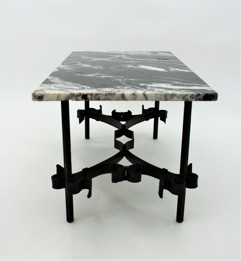 1930s Gilbert Poillerat Style Wrought Iron Coffee Table with Black Marble Top For Sale 10