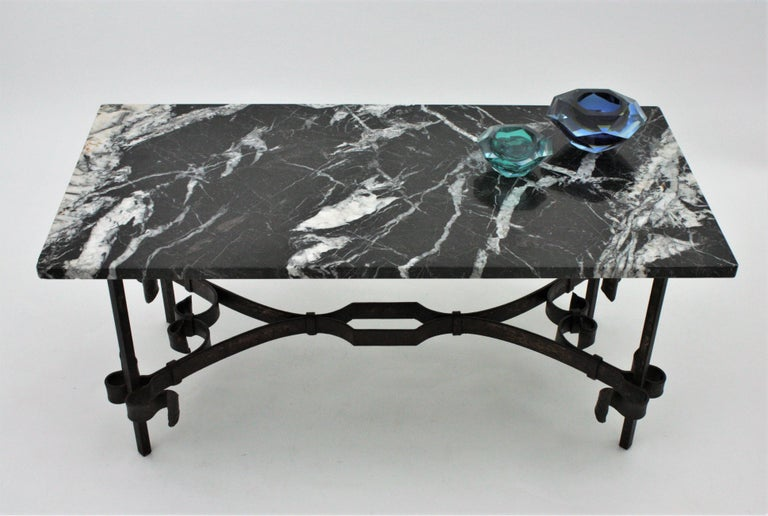 1930s Gilbert Poillerat Style Wrought Iron Coffee Table with Black Marble Top For Sale 1
