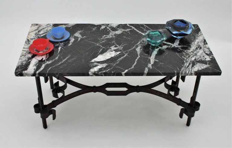 1930s Gilbert Poillerat Style Wrought Iron Coffee Table with Black Marble Top For Sale 4