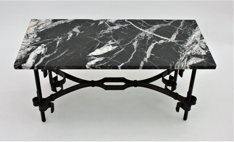 1930s Gilbert Poillerat Style Wrought Iron Coffee Table with Black Marble Top For Sale 5