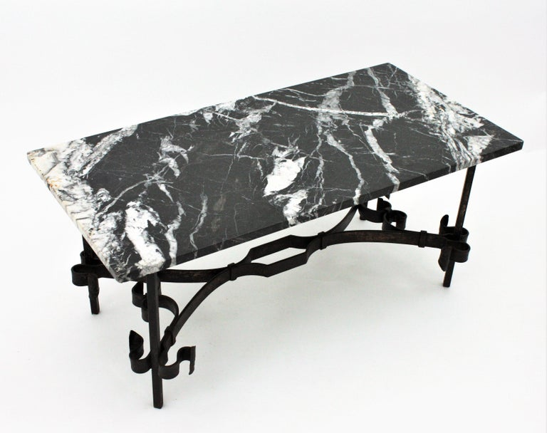 1930s Gilbert Poillerat Style Wrought Iron Coffee Table with Black Marble Top For Sale 6