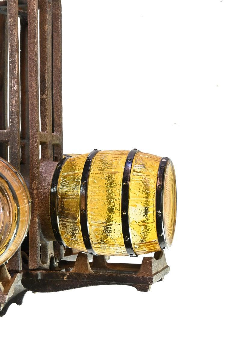 Art Deco 1930s Gill Glass Barrel Chandelier For Sale