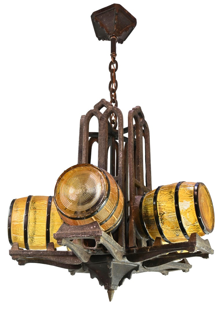 American 1930s Gill Glass Barrel Chandelier For Sale