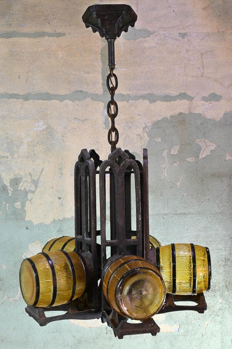 Cast 1930s Gill Glass Barrel Chandelier For Sale