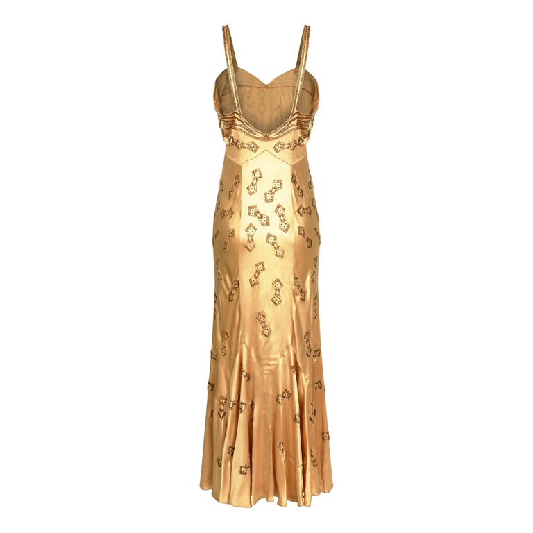 1930s Gold Beaded Liquid Satin Evening Gown In Excellent Condition For Sale In London, GB