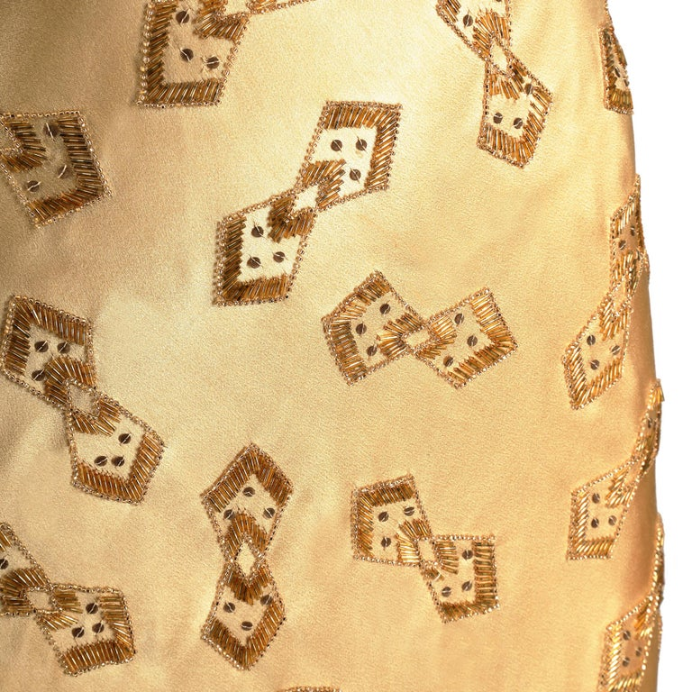 Women's 1930s Gold Beaded Liquid Satin Evening Gown For Sale