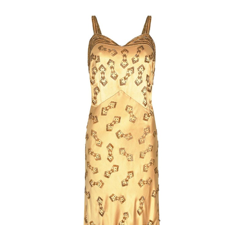 1930s Gold Beaded Liquid Satin Evening Gown For Sale 1