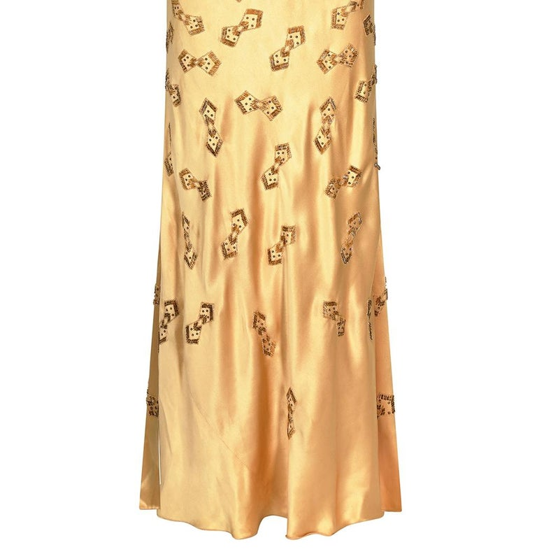 1930s Gold Beaded Liquid Satin Evening Gown For Sale 2