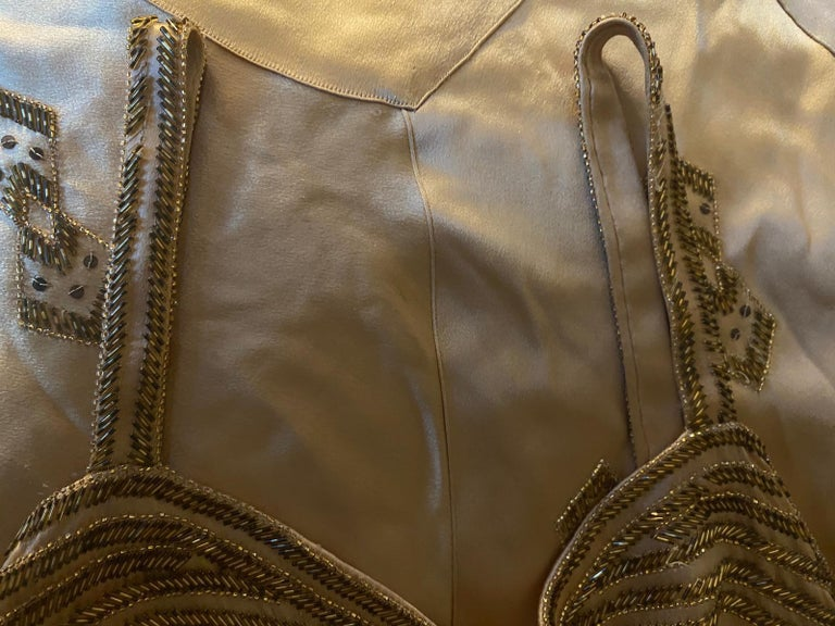 1930s Gold Beaded Liquid Satin Evening Gown For Sale 3