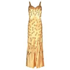 1930s Gold Beaded Liquid Satin Evening Gown