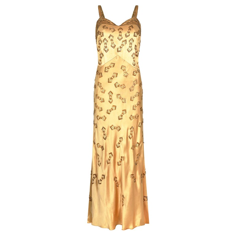 1930s Gold Beaded Liquid Satin Evening Gown For Sale
