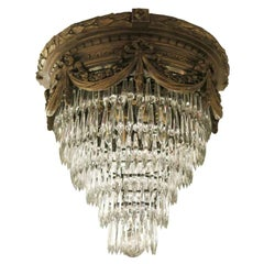 1930s Gold Finish Gesso and Crystal Wedding Cake Flush Mount Light