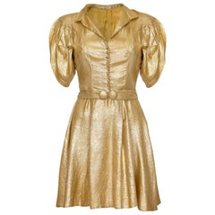 1930s Gold Lame Dress with Cape Sleeves and Matching Belt