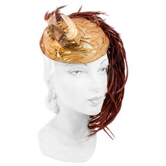 1930s Gold Lamé Sculpted Perch Hat with Bird/Feather Accent