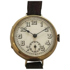 1930s Gold-Plated Swiss Made Trench / Wristwatch