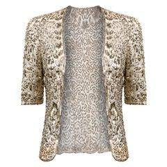 1930s Gold Sequin Sheer Net Evening Jacket