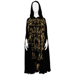 1930's Gold Stenciled Black Silk Velvet Cape, Style of Fortuny and Gallenga